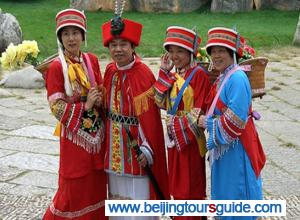 Tour Guides Dessed in Sani Ethnic Minority Costumes Stone Forest